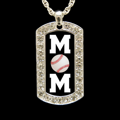 "Baseball Mom Crystal Dog Tag 18"" Necklace"