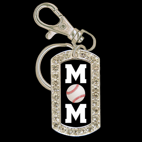 Baseball Mom Crystal Dog Tag Key Chain