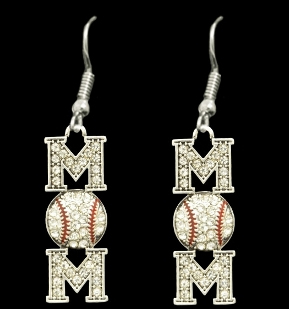 Baseball MOM Crystal Stone Dangle Earrings
