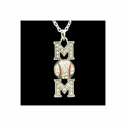 Baseball MOM Crystal Stone Necklace