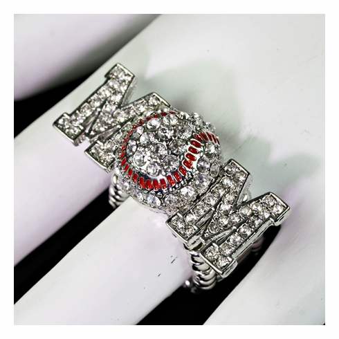 Baseball Mom Crystal Stretchy Ring<br>ONLY 1 LEFT!