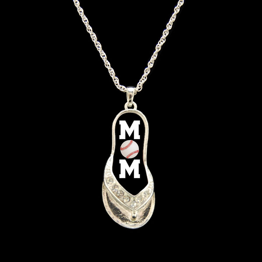 "Baseball Mom Flip Flop 18"" Necklace"