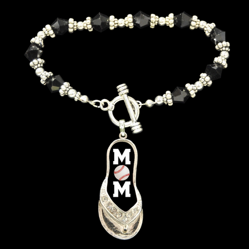$3 $5 $7 SALE!<br>Baseball Mom Flip Flop Toggle Bracelet