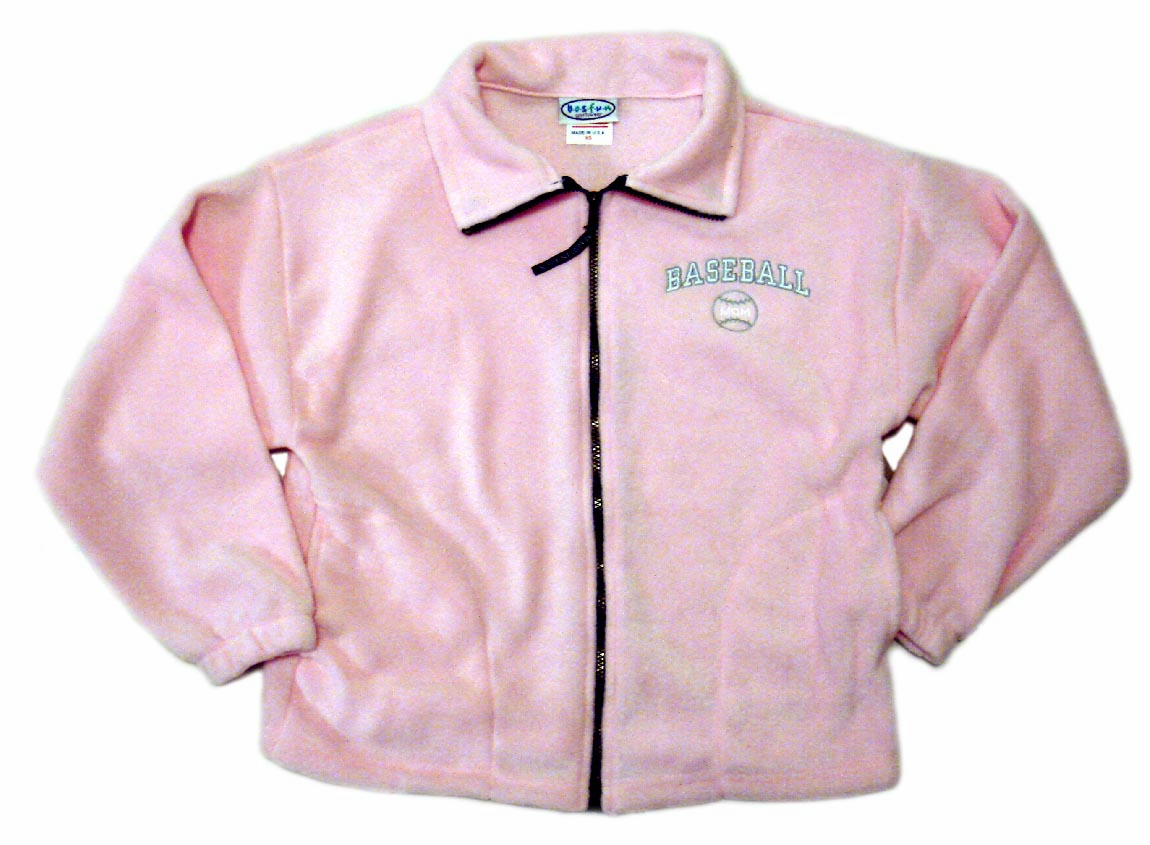 Baseball Mom Pink Adult XS Full Zip Polar Fleece<br>ONLY 1 LEFT!