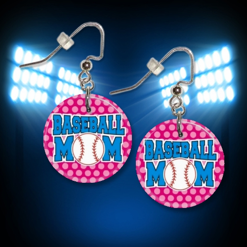 Baseball Mom Pink Button Dangle Earrings<br>ONLY 3 SETS LEFT!