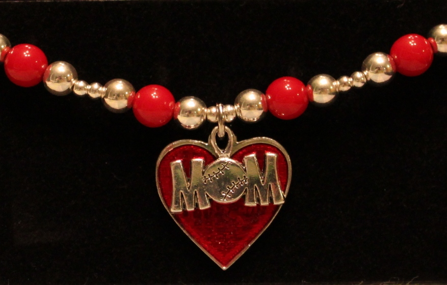 Baseball MOM Stretchy Red Bracelet