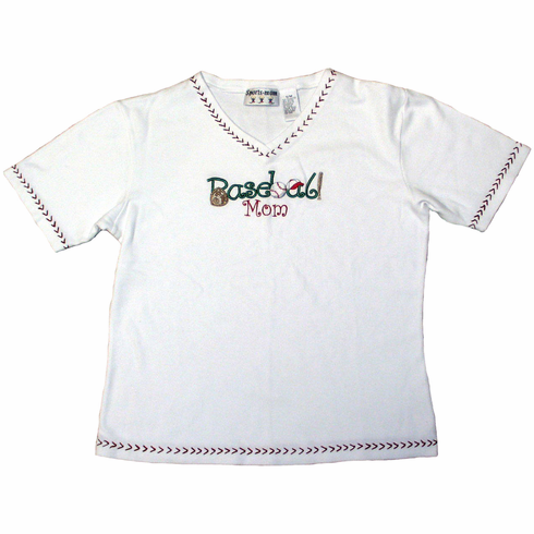 Baseball Mom White Tee<br>S/M or L/XL