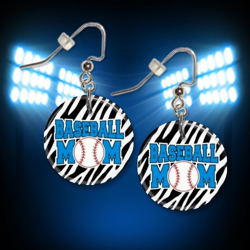 Baseball Mom Zebra Button Dangle Earrings<br>ONLY 5 SETS LEFT!