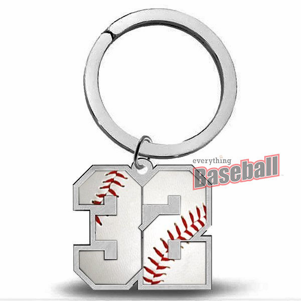 Sports Number Pendant Silver Key Chain<br>Baseball Football or Basketball