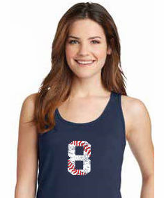 Baseball Number Personalized Ladies T-Shirts<br>Choose Your Number<br>Choose Your Color<br>Tank, V-Neck, or Crew<br>Ladies XS-4X