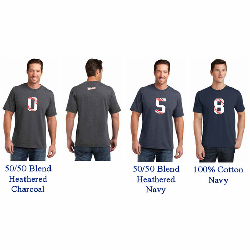 Baseball Number Personalized T-Shirt<br>Choose Your Number<br>Choose Your Color<br>Youth Med to Adult 4X