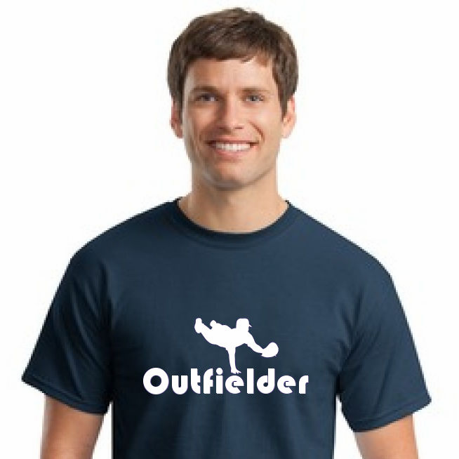 Baseball Outfielder T-Shirt<br>Choose Your Colors<br>Youth Med to Adult 4X