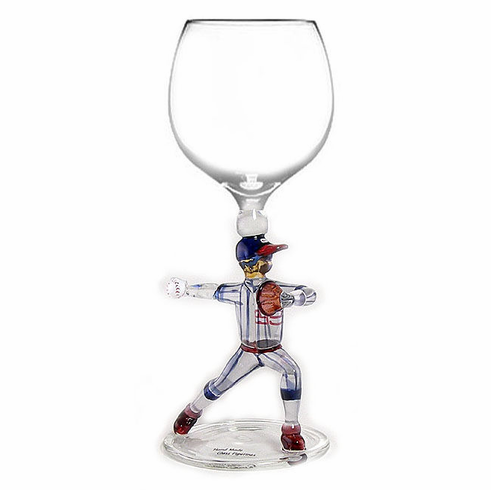 Baseball Pitcher Wine Glass