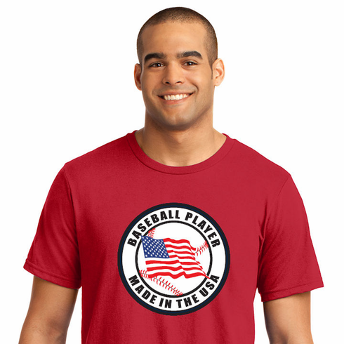 Baseball Player Made in the USA T-Shirt<br>Choose Your Color<br>Youth Med to Adult 4X