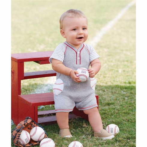 Baseball Raglan One-Piece Shortall