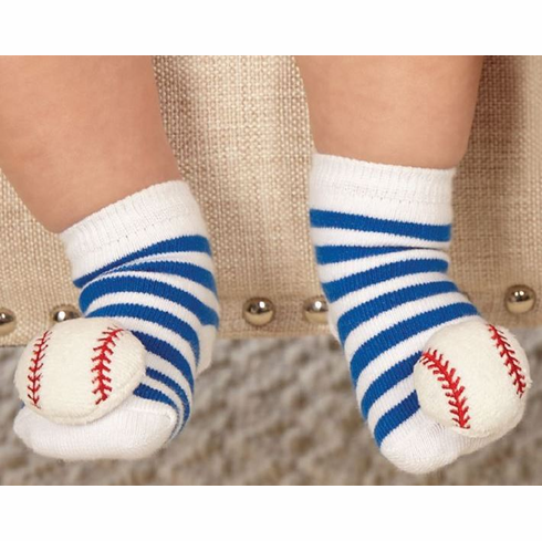 Baseball Rattle Toe Baby Socks