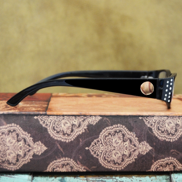 Baseball Reading Glasses<br>Black with Crystals