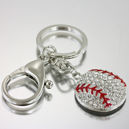 Baseball Rhinestone Baseball Key Chain
