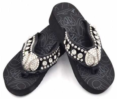 Baseball Rhinestone Black Flip-Flop Sandals<br>SIZES 6,7,10,11