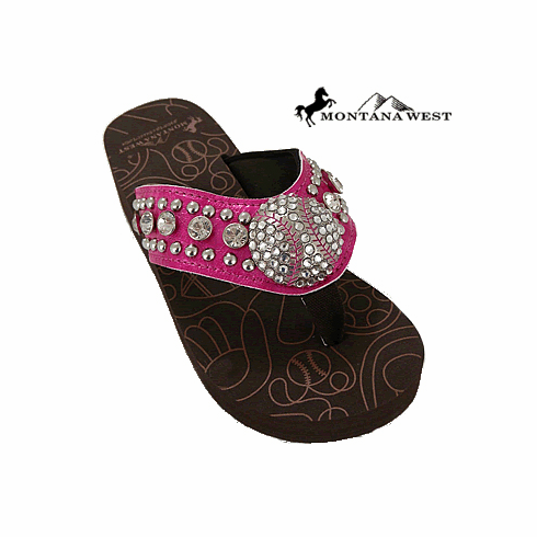 Baseball Rhinestone Hot Pink Flip-Flop Sandals<br>SIZES 6,7,8,11