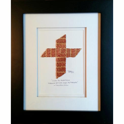 Baseball Seams Cross Original Artwork<br>2 FRAME COLORS!
