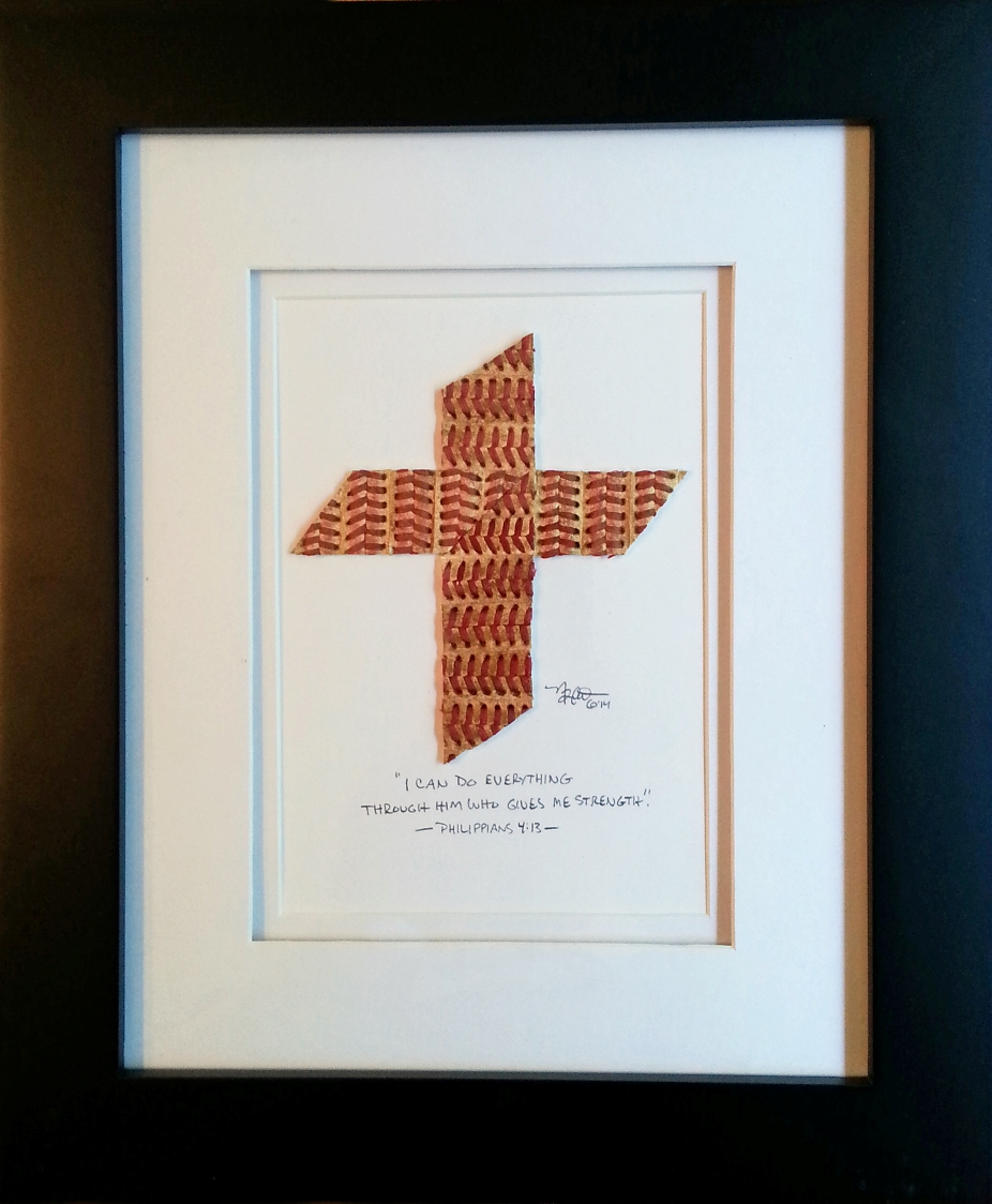 Baseball Seams Cross Original Artwork<br>ONLY 2 LEFT!