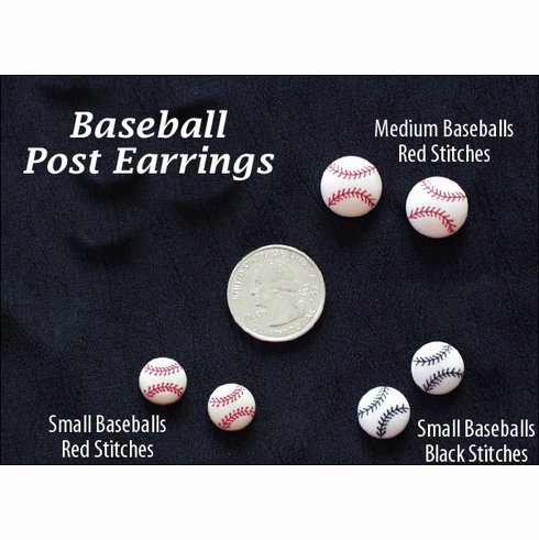 Baseball Shaped Button Earrings