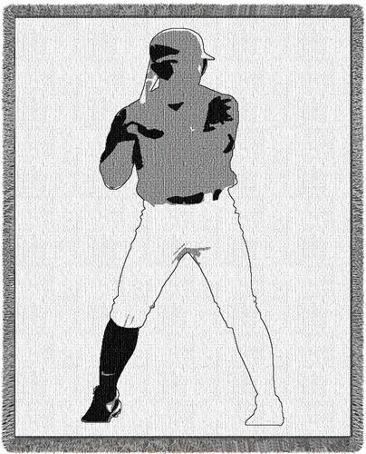 Baseball Silhouette Tapestry Throw