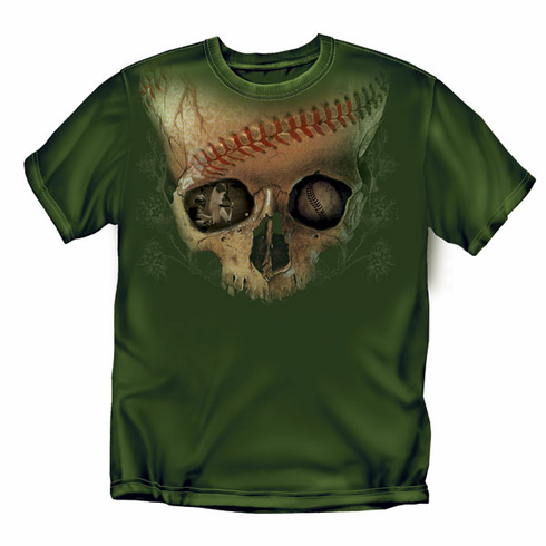 Baseball Skull Army Green Adult T-Shirt