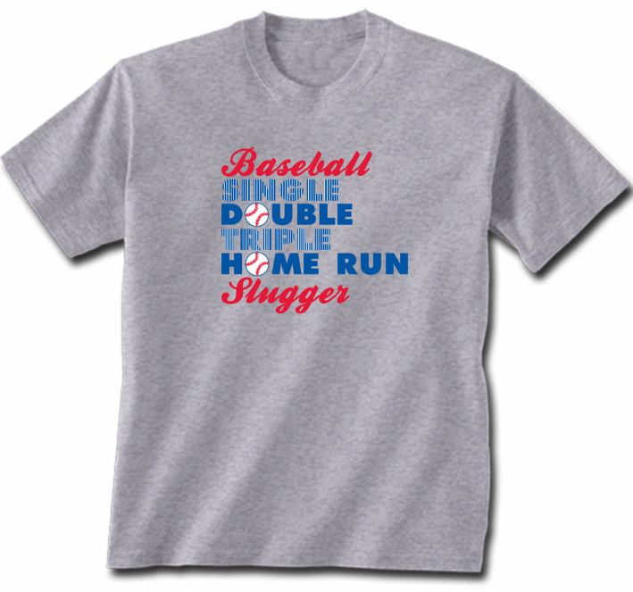 Baseball Slugger Gray Adult T-Shirt<br>Adult M, XL or 2X