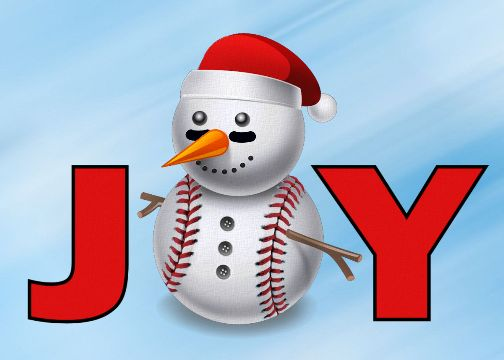 Personalized Baseball Snowman Joy Christmas Cards<br>5 PACK MINIMUM!
