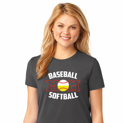 Baseball Softball Mom Ladies T-Shirt<br>Choose Your Color<br>Tank, V-Neck, or Crew<br>Ladies XS-4X