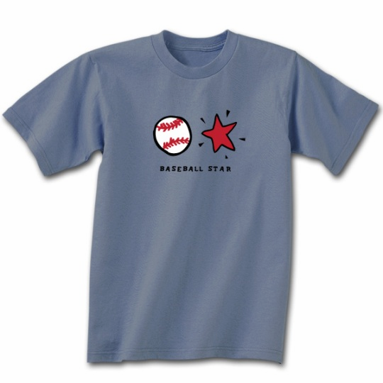 Baseball Star Stone Blue T-Shirt<br>Youth Lg to Adult 2X