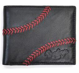 Baseball Stitch Black Leather Bi-Fold Wallet by Rawlings<br>LESS THAN 6 LEFT!