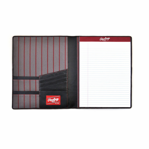 Baseball Stitch Black Leather Pad Folio/Tablet Case by Rawlings