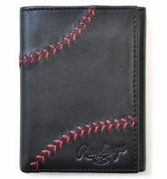 Baseball Stitch Black Leather Tri-Fold Wallet by Rawlings<br>LESS THAN 6 LEFT!