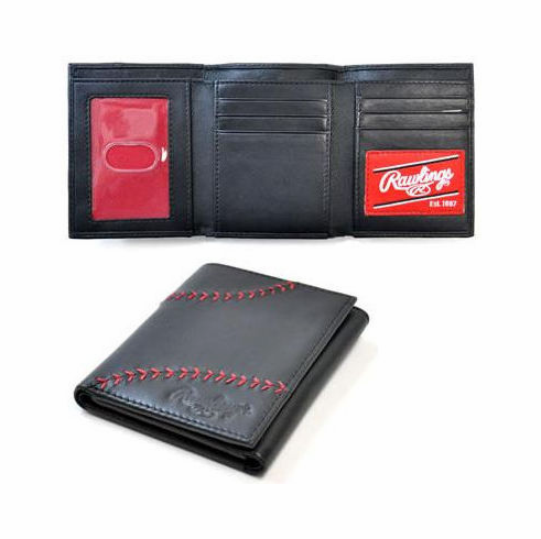 Baseball Stitch Black Leather Tri-Fold Wallet by Rawlings