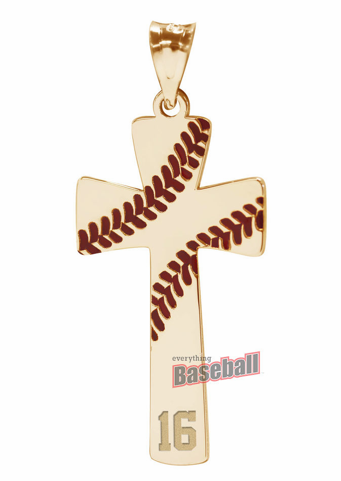 'Baseball Stitch Cross Pendant with Number<br>GOLD or SILVER' from the web at 'https://sep.yimg.com/ay/everythingbaseball/baseball-stitch-cross-pendant-with-number-gold-or-silver-11.png'