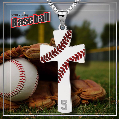 Baseball stitch cross pendant with numberbrgold or silver aloadofball Gallery