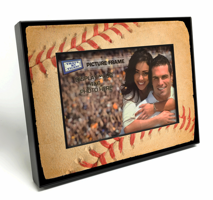 Baseball Stitches 4x6 Wooden Photo Frame<br>ONLY 1 LEFT WITH MINOR IMPERFECTIONS!