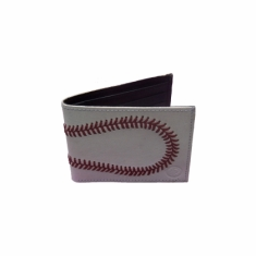 Baseball Stitches White Leather Men's Wallet<br>ONLY 3 LEFT!