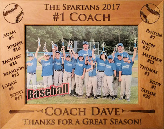 Baseball Team #1 Coach Personalized Photo Frame<br>3 SIZES!