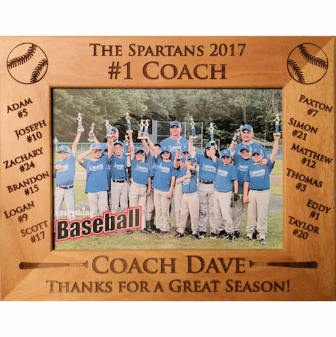 Baseball Team Roster #1 Coach Personalized Photo Frame<br>3 SIZES!