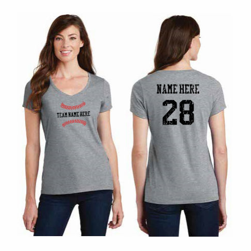 Baseball Team Name Personalized Ladies T-Shirts<br>Choose Your Text<br>Choose Your Color<br>Tank, V-Neck, or Crew<br>Ladies XS-4X