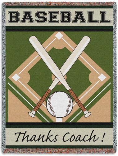 BASEBALL Thanks Coach! Tapestry Throw Blanket