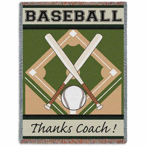 BASEBALL Thanks Coach! Tapestry Throw