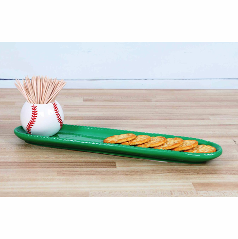 Baseball Toothpick Holder and Tray Set