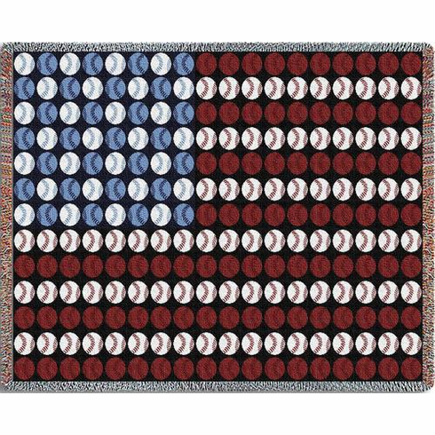 Baseball USA Flag Tapestry Throw Blanket