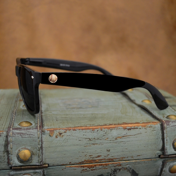Baseball Wayfarer Black Sunglasses