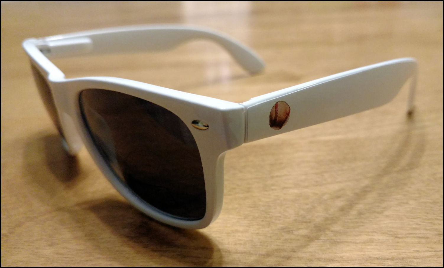Baseball Wayfarer White Sunglasses